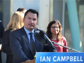 Vision Vancouver Mayoral Candidate Chief Ian Campbell and the Vision team make a platform announcement on rapid transit including a proposal to extend rapid transit to UBC, in Vancouver, BC., September 5, 2018.