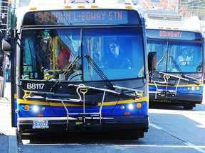 A Coast Mountain Bus Company bus in action in downtown Vancouver.