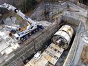 The tunnel boring machine being used on the $1.4 billion Evergreen Line SkyTrain extension is currently undergoing scheduled maintenance before it proceeds under Clarke Road.