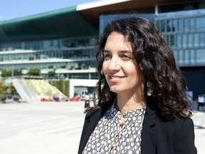 Valentina Branada on the plaza outside Surrey city hall after speaking at the Surrey Social Innovation Summit on Thursday, Sept. 6, 2018.