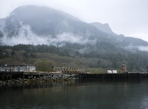 The WoodFibre LNG project site is pictured in Howe Sound south of Squamish, British Columbia.