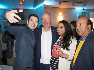 City of Burnaby mayor elect Mike Hurley celebrates with supporters at his election headquarters after winning the 2018 municipal election Saturday.