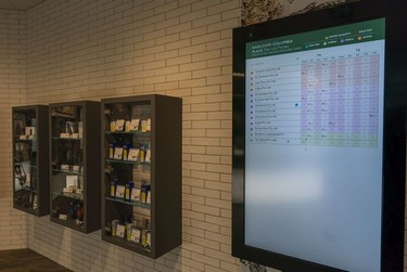 An electronic board listing prices an availability of product inside the BC Cannabis Store in Kamloops, Oct., 17, 2018.