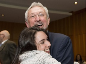 British Columbia NDP MLA Leonard Krog celebrates his win as mayor of Nanaimo. He will now have to quit as NDP MLA, forcing a byelection in a riding held by the minority provincial government.