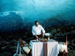 The Blue Room adventure starts with a helicopter flight to a glacier, then a meal in an aqua ice cave by The Four Seasons Whistler. Price: $20,000