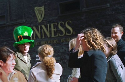 Visitors queue outside the Guinness Storehouse, ready to make the pilgrimage.