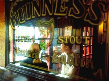 Enjoying a Guinness stout in the Temple Bar pub.