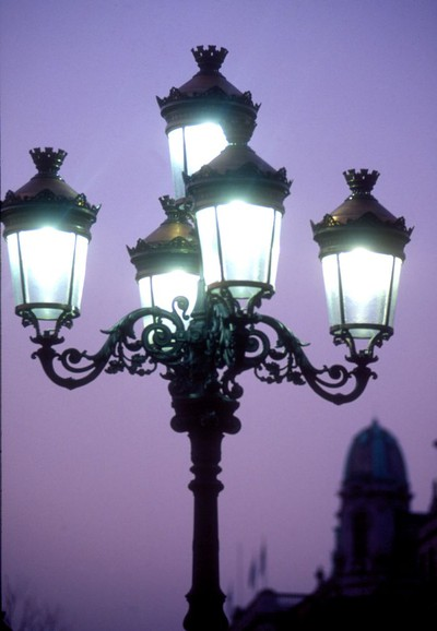 Lights at twilight on the O'Connell Street Bridge.