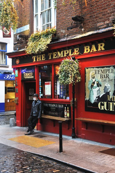 The colourful Temple Bar pub – the most photographed pub façade in Dublin, perhaps even the world.