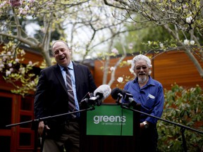 David Suzuki (right, endorsing the B.C. Green party with party leader Andrew Weaver during last year's election) is a supporter of proportional representation in the electoral reform referendum — as is Weaver.
