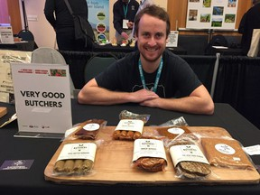 Mitchell Scott, bean butcher and business and marketing manager for Very Good Butchers. The Victoria-based vegan butcher was at the inaugural Every Chef Needs a Farmer, Every Farmer Needs a Chef networking event at the Sheraton Vancouver Wall Centre on Tuesday.