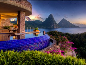 Designed by architect/visionary/owner Nick Troubetzkoy, Jade Mountain in St. Lucia is a true feast for all the senses.