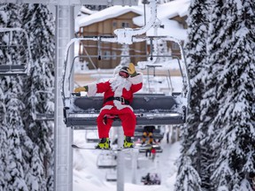 On Christmas Day, skier visits to Big White Ski Resort increased by 6 per cent over last year – including a visit from the big guy himself. Santa landed at Big White on Christmas morning after a long night delivering toys and hit the slopes with around 50 other skiers and snowboarders.