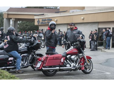 Approximately 250 members of the Hells Angels motorcycle club from BC and across Canada, including members of affiliated support clubs, attend the funeral for slain HA Hardside chapter member Chad Wilson, at the Maple Ridge Alliance Church in Maple Ridge, BC Saturday, December 15, 2018. Wilson was found murdered under the Golden Ears bridge November 18, 2018. There was a heavy police presence at the church during the service.
