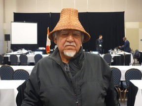 Snuneymuxw First Nation elder Gary Manson appears before a National Energy Board panel in Nanaimo, B.C., on Dec. 5, 2018 to deliver remarks on the Trans Mountain pipeline expansion project.