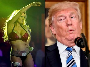 Stormy Daniels and Donald Trump are seen in a combination shot. (Joe Raedle/Getty Images/NICHOLAS KAMM/AFP/Getty Images)