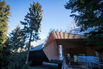 People walk outside the entrance to the Audain Art Museum in Whistler.