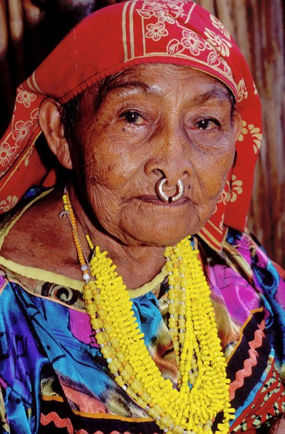 The eyes have it: Kuna Indian woman, Panama.