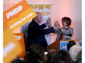 Premier and NDP leader John Horgan with Nanaimo MLA-elect Sheila Malcolmson on Jan. 30, 2019. The NDP out-fundraised its rivals in the last half of 2018 as the parties wrestled with a referendum on proportional representation and the lead-up to the Nanaimo byelection.