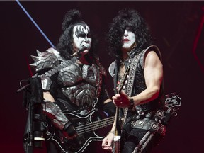Gene Simmons (left) and Paul Stanley of KISS performs during the first show of the The Final Tour Ever - Kiss End Of The Road World Tour in Vancouver, BC, January, 31, 2019.