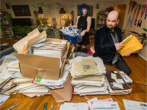 """Amy and Peter New in """"mid-Kondo"""" at their Vancouver apartment. The couple were inspired to start decluttering after watching Netflix's Tidying Up with Marie Kondo."""
