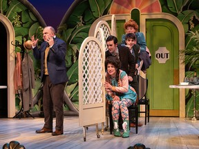 The cast of  Arts Club's The Matchmaker, playing until Feb 24. Set and costume design by Drew Facey and lighting design by John Webber. Photo by David Cooper.