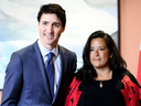 AND NOW: Prime Minister Justin Trudeau, Veterans Affairs Minister Jody Wilson-Raybould at a swearing in ceremony on Jan. 14, 2019.