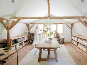 Interior designer Sydney Carlaw of Purity Design works out of a converted cedar barn on her Langley property.  Photo: Purity Design The Home Front: Expert advice at the BC Home + Garden Show by Rebecca Keillor [PNG Merlin Archive]