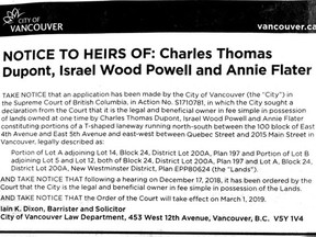 City of Vancouver notice to the heirs of Israel Wood Powell, Charles Thomas Dupont and Annie Flater about several lots on or near Main Street, between 4th and 7th avenues.