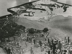 Model of a proposed causeway, tunnel and twin bridge from Downtown Vancouver to the North Shore in 1967.