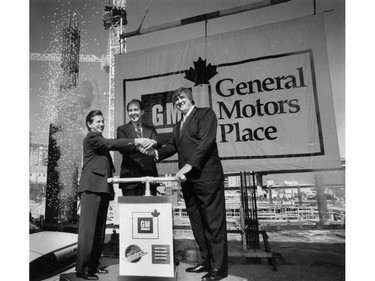 Arthur Griffiths, GM Canada President George Peapples, Pat Quinn (l-r) 94-2009. Photo by Mark Van Manen, Vancouver Sun, March 29, 1994. Ran March 30, 1994 D-8. [PNG Merlin Archive]