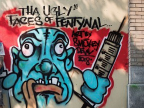 Urban artist Smokey Devil's work is prominent in the alleys of Gastown and the Downtown Eastside, most of them pleading with locals to take care of themselves in the wake of Fentanyl overdoses.