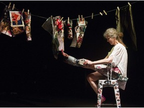 Maggie McGhee rehearses a scene from SHINY, a performance dance piece at KW Production studio