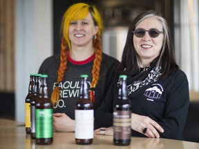 Kwantlen brewing grad Jacquie Loehndorf, left, and her instructor Nancy More, a pioneering female brewmaster, at Faculty Brewing Co. in Vancouver's Main Street/Mount Pleasant craft-beer neighbourhood.