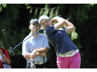 August 17, 2015   Canadian teen Brooke Henderson 17, smiles and yawns during charity tournament today at the 2015 Canadian Pacific Women's Open at the Vancouver Golf club in Coquitlam B.C. on August 17, 2015.   Henderson often yawned between shots after a big day winning her first LPGA tournament in Portland, U.S.A.          Mark van Manen /PNG Staff photographer    see  Vancouver Sun News / Sports / Brad Ziemer Sports [PNG Merlin Archive]