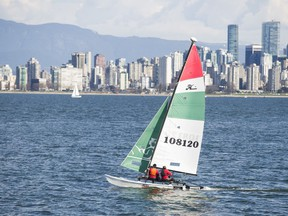 A small catamaran heads out of Jericho Beach to enjoy the afternoon sunshine. Gerry Kahrmann/PNG
