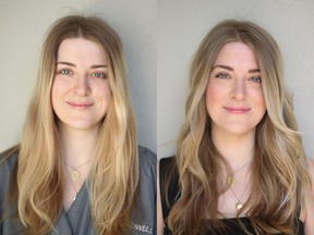 Madeline Baldrey is a 25-year-old designer and student. She wanted a colour and cut to enhance her blond hair with low maintenance for her upcoming trip to London. On the left is Baldrey before her makeover by Nadia Albano.