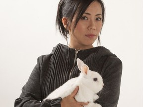 Mariko Ando and friend. Ando's exhibit Mind the Rambling Hares opens at Visual Space Gallery April 17.