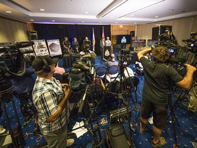 Police display items seized during Project Territory at a media briefing by Vancouver Police in August 2018.