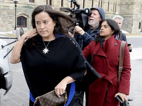 Liberal MP Jody Wilson-Raybould leaves Parliament Hill after a short visit in Ottawa on Tuesday, April 2, 2019.