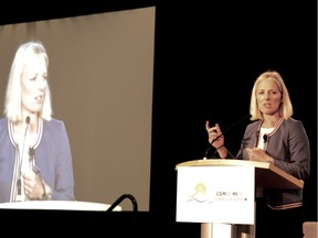 Catherine McKenna, minister of Environment and Climate Change, speaks at the 2019 Clean Energy Ministerial and Mission Innovation conference in Vancouver on May 28.