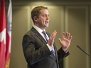 Conservative Leader Andrew Scheer delivers a foreign policy speech om May 7, 2019 in Montreal.