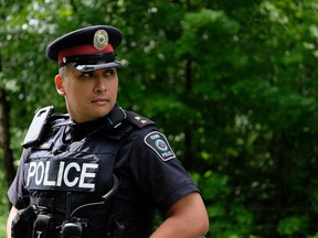 The new APTN series Tribal Police Files follows a group of police officers including Matt Stinson, who work on the Chippewa community of Rama, Ont.