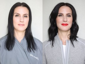 Lisa Ward is a 40-year-old clinical counsellor who was ready to update her haircut. On the left is Lisa before her makeover. On the right is Lisa after her makeover by Nadia Albano. Photo: Nadia Albano.