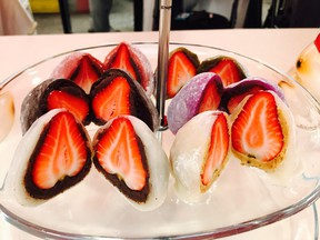 Asomi Mochi's strawberry-centred mochi treat is among the picks at this year's Richmond Night Market. (MIA STAINSBY PHOTO)