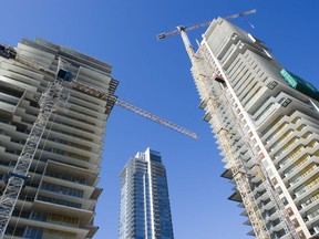 Condo towers under construction in the Metrotown area,