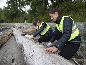Charlotte Brady (left) and Anastasia Castro clean-up plastics and other refuse scraps from the shoreline at Second Beach in Vancouver, BC's Stanley Park Saturday, June 8, 2019. Volunteers from the Vancouver Surfrider Foundation scoured local beaches Saturday as part of the Great Canadian Shoreline Cleanup initiative.