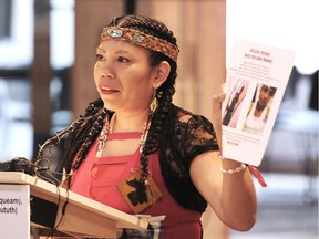 Lorelei Williams, a family member and founder of Butterflies in Spirit, speaks to the media as Indigenous women respond to the report on the national inquiry into missing and murdered Indigenous women and girls in Vancouver.