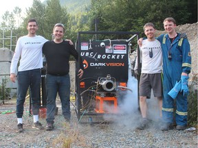 UBC Rocket's hot fire team a few minutes after a successful test in Chilliwack on July 12. L-R: Pablo Fernandez, Scott Thiessen, Griffin Peirce, and Simon Bambey. The team is competing for the $1-million Base 11 Space Challenge to send a liquid rocket into the edge of space.