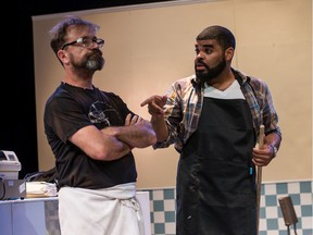David Nykyl as Arthur, and Chris Francisque as Franco star in Superior Donuts, playing until Aug. 16 at the Jericho Arts Centre. Photo: Courtesy of Zemekis Photography.